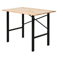 HOMCOM Fir Wood Work Table Heavy Duty Study Structure Large Tabletop Garage