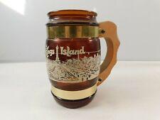 Vtg Original Souvenir KINGS ISLAND Amber Glass Mug w Wood Handle SIESTA WARE