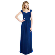 Sophisticated Chiffon Floor Length Formal Evening Gown Bridesmaid Dress Blue