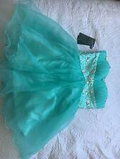 Size 16 Corset Back Grace Karin Prom Dress- Short Aqua Green
