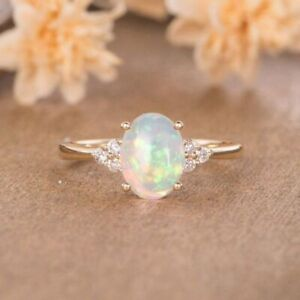 14k Rose Gold Plated Ring Round Cut White Fire Opal Women Jewelry Gifts Sz 6-10