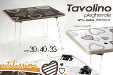 TAVOLO TAVOLINO RETTANGOLARE PIEGHEVOLE NERO/BIANCO DECORATO CUORE GYA-646836