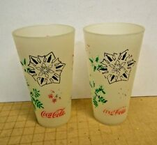 2 Vintage Coca Cola 1998 Thermo-Serv Frosted Plastic 16 oz Drinking Glass