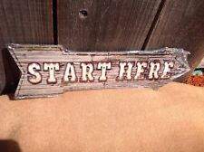 """Start Here This Way To Arrow Sign Directional Novelty Metal 17"""" x 5"""""""