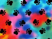 FAT QUARTER  TIE DYE PAW PRINTS DOG PUPPY PAWS COLORFUL NOVELTY COTTON FABRIC FQ