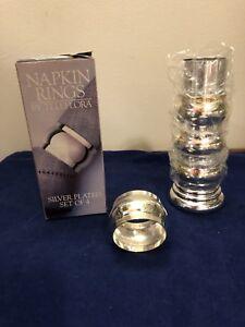 Teleflora Silver Plate Napkin Rings Set of 4 with Decorative Holder NIB
