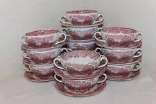 RARE Vintage Enoch Wedgwood Soup Bowl Saucer Sets, Woodland, Unicorn Mark, 12