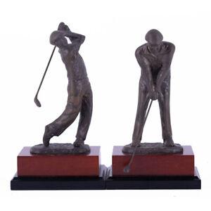 "Set Of 2 Vintage Bronze Sculpture ""Playing Golf"""