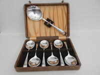 Boxed Set 7 Art Deco Fruit Spoons English Silver Plated Cutlery Canteen Retro
