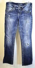 "Buckle Silver Jeans LOLA 17"" straight destroyed low rise Studded Pocket 25x33 #9"