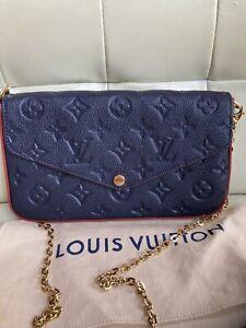LOUIS VUITTON Pochette Felicie Marine Rouge Empreinte Crossbody Bag