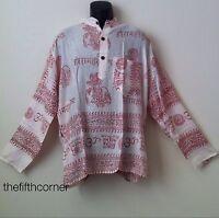 Hippie Hare Rama Om Ganesh Hindu Yoga Prayer T Shirt Kurta Top Unisex Handmade
