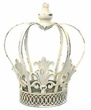 Antique Cream Crown Ornament Garden Planter ~ Outdoor Flower Pot