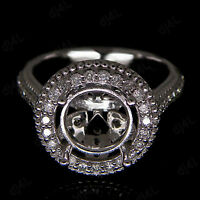 9mm Round Halo Semi Mount Diamond Vintage Engagement Ring 14K White Gold Over