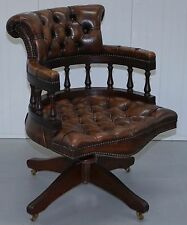 NICELY RESTORED CHESTERFIELD STAMPED 1967 CIGAR BROWN LEATHER CAPTAINS CHAIR