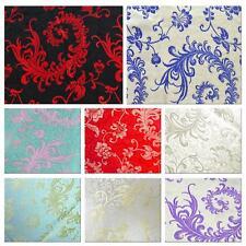 Faux Silk Brocade (Paisley Fern) Jacquard Damask Kimono Fabric Material BL8