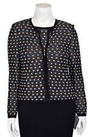 St John Knits 2Pc Black/Pastel Multi Zip Front Jacket/Cardigan & Top Set sz 10 M