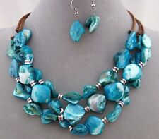 Three Row Blue Shell Silver Necklace Earrings Set Fashion Jewelry NEW