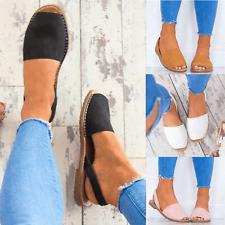 Womens Summer Menorcan Flats Peep Toe Sandals Mules Sliders Slingback Shoes Size