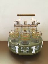 Vintage Tantalus Decanter Set Mid Century Modern Bar Caddy with Glasses & Lock