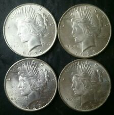 Lot of Four 1923 $1 Peace Silver Dollars