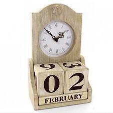 Calendario natural de Madera Shabby Chic Vintage Perpetuo Fecha Reloj De Regalo Retro De Madera