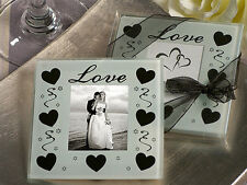 50 Glass Photo LOVE Hearts Coaster Wedding Bomboniere Guest Favour 2 per set