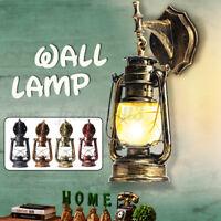 Retro Lantern Antique Vintage Rustic Lamp Wall Sconce Light Fixture Outdoor Q