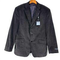 Madison Mens Charcoal Corduroy Button Front Designer Blazer Size 42 S