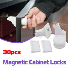 30PCS Magnetic No Drilling Cabinet Drawer Cupboard Baby Kids Safety Locks AU 🔥