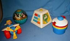VTG Lot 4 Fisher Price Baby Toys Roly Poly/Airplaine/Rattle cups/Turn & Learn!