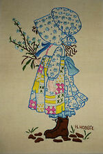 Holly Hobbie Embroidery Finished Project 10 x 14 Unframed  Excellent  Colorful