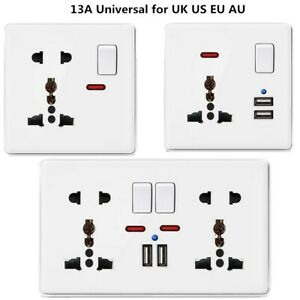 Double Wall Plug Socket 1/2 Gang with 2 USB Charger Port With Switch Universal