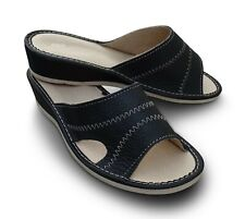 Damen Hausschuhe Sommer Pantoletten Pantoffeln Echtleder schwarz, Gr. 37 - 41