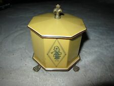 Vintage Lucite Empire celluloid trinket / powder box w gold tone feet & finial