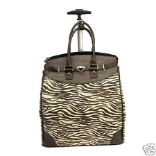 Zebra Shiny Glitter Bronze Carry-on Rolling Tote  Traveling & Shopping