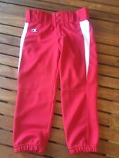 Champion Red Youth Softball Athletic Pants Size Medium with white stripe