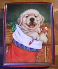 12 CHRISTMAS Leanin Tree Box Cards PUPPY, Dog Hanging in a Christmas Stocking