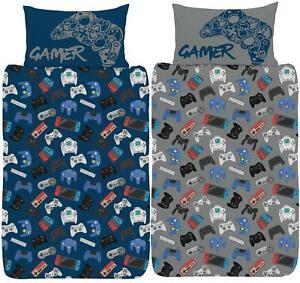 Gamer Single Duvet Cover Gaming Controller Design Reversible Bedding Set