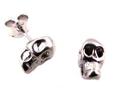 Pendientes Hombre Mujer Unisex Calavera Plata 925 Rodiado Antialérgico - Skull