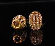 2pcs 16X13mm Lantern Crystal Rhinestone Metal Big Hole Beads Findings Gold