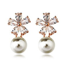 Rose Gold Filled Made with Swarovski Crystal Flower Bridal Pearl Earring IE34