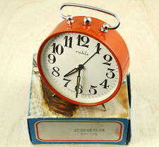 Ruhla Vintage Hand Winding Alarm Clock 10cm Made in East Germany New Old Stock