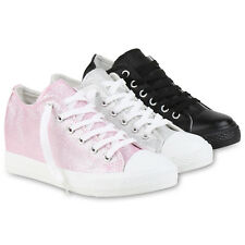 Sneaker-Wedges Damen Glitzer Sneakers Turnschuhe Keil Absatz 812556