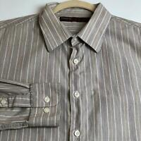 Perry Ellis Men's Long Sleeve Button Up Shirt XL Brown White Vertical Stripes