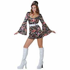 RETRO GO GO GIRL COSTUME 1960S HIPPIE LADIES FANCY DRESS - MEDIUM