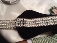 Vintage CORO Signed Wide Silver Tone Bracelet Zig Zag Design