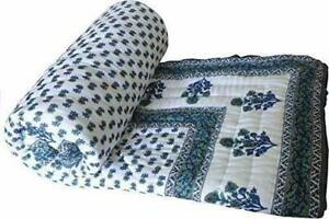 Hand Made Coverlet Floral Block Print Bedspreads Light Wight Cotton Soft Quilt