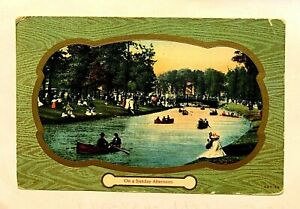 """GREETING, """"On a Sunday Afternoon"""", By Antique 1907-15 unused PC 722 B"""