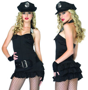 Officer Pat Down Police Cop Sexy Leg Avenue Costume M/L UK 10-12 Hat Dress Glove